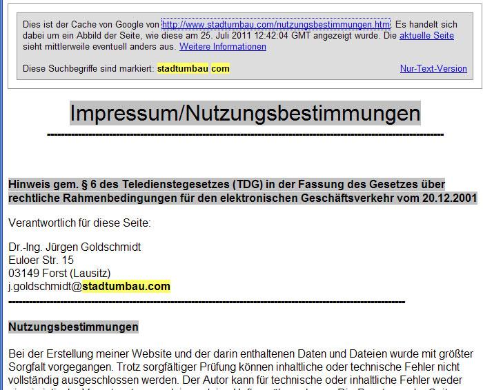 Jürgen Goldschmidts Webseite Stadtumbau.com ist offline.