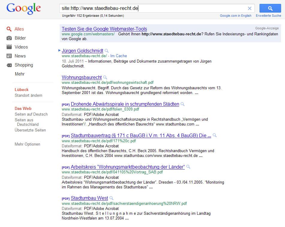 Google Ergebnis zur domain staedtebau-recht.de